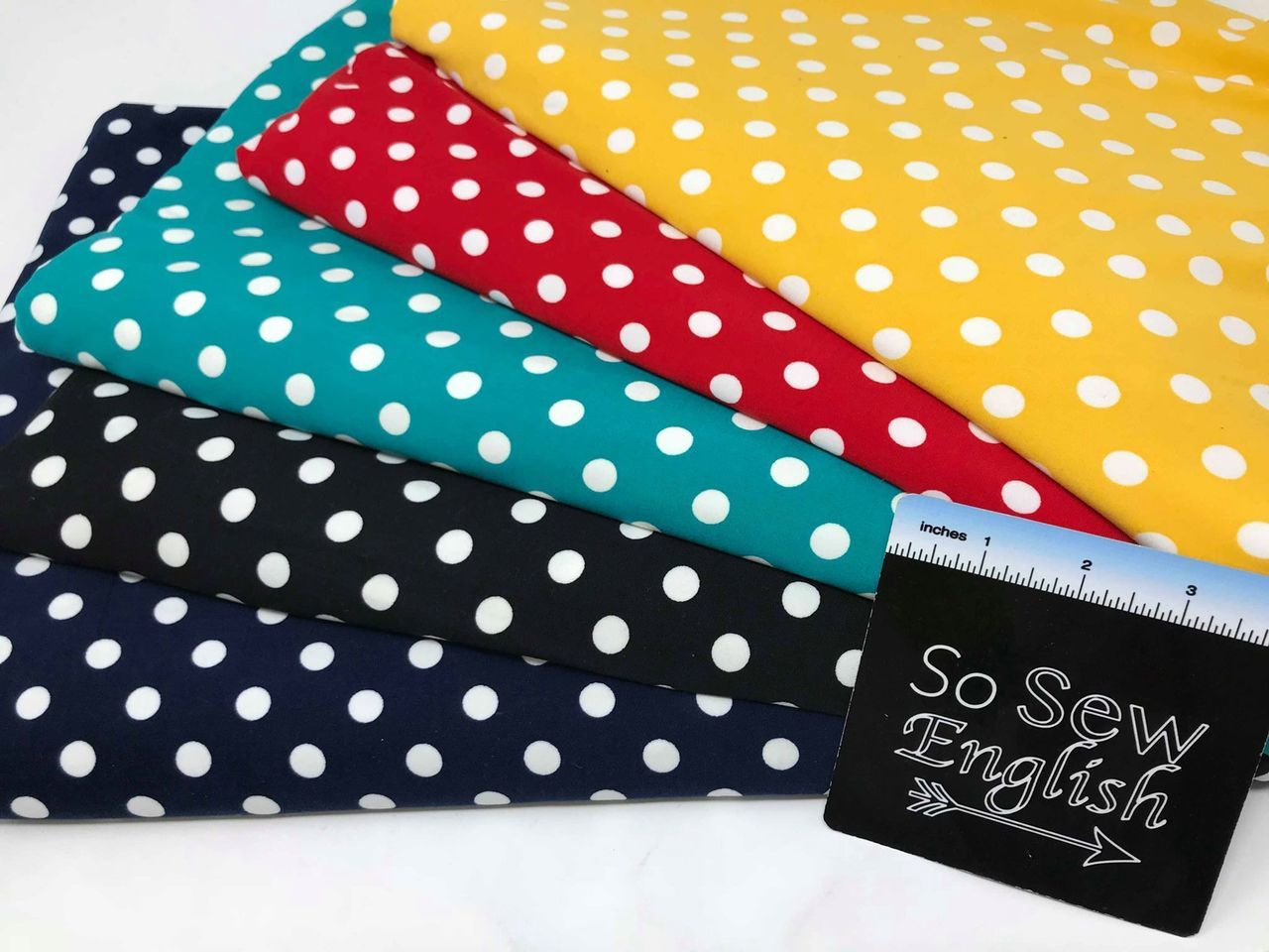 Navy POLKA DOTS- Single Brushed Poly Spandex -By The Yard