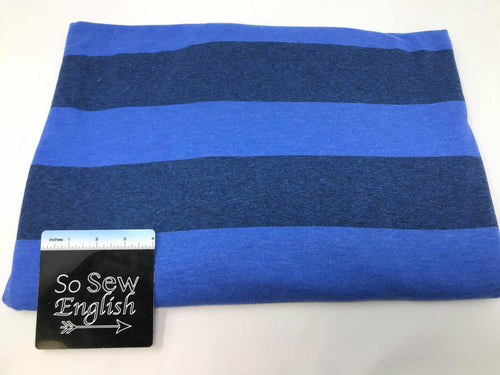Blue Stripe - Poly Rayon Spandex -By the yard