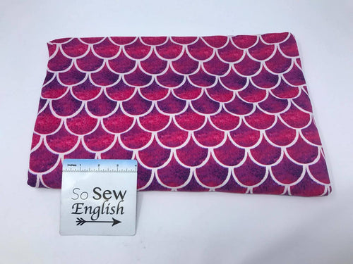 White/fuchsia SCALES - Double Brushed Poly Spandex - By The Yard