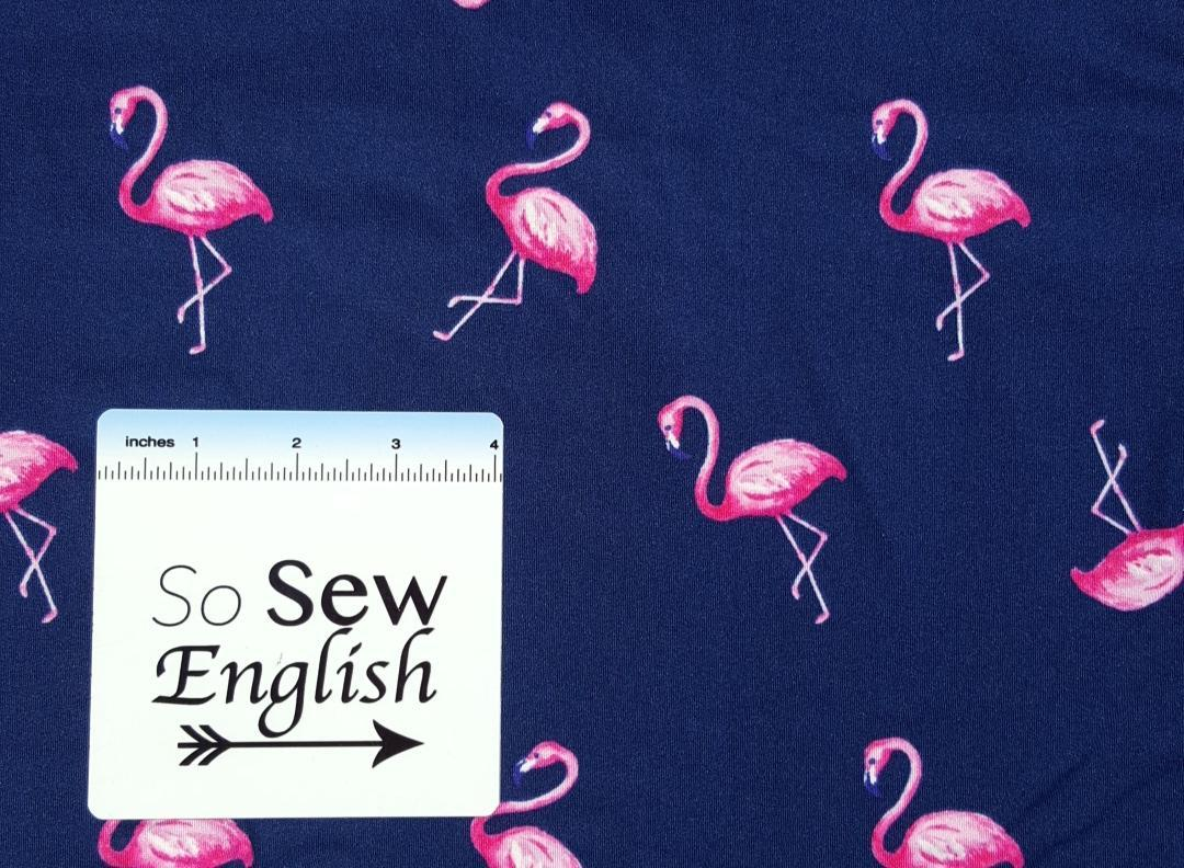 NAVY Flamingos - Double Brushed Poly Spandex - By The Yard