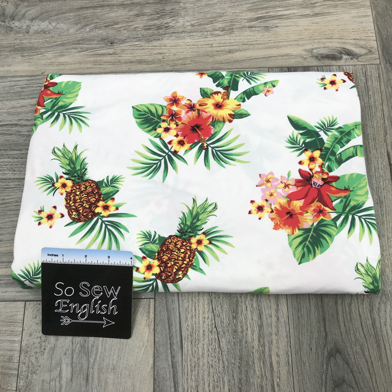 Ivory PINEAPPLE TROPIC- Single Brushed Poly Spandex -By The Yard