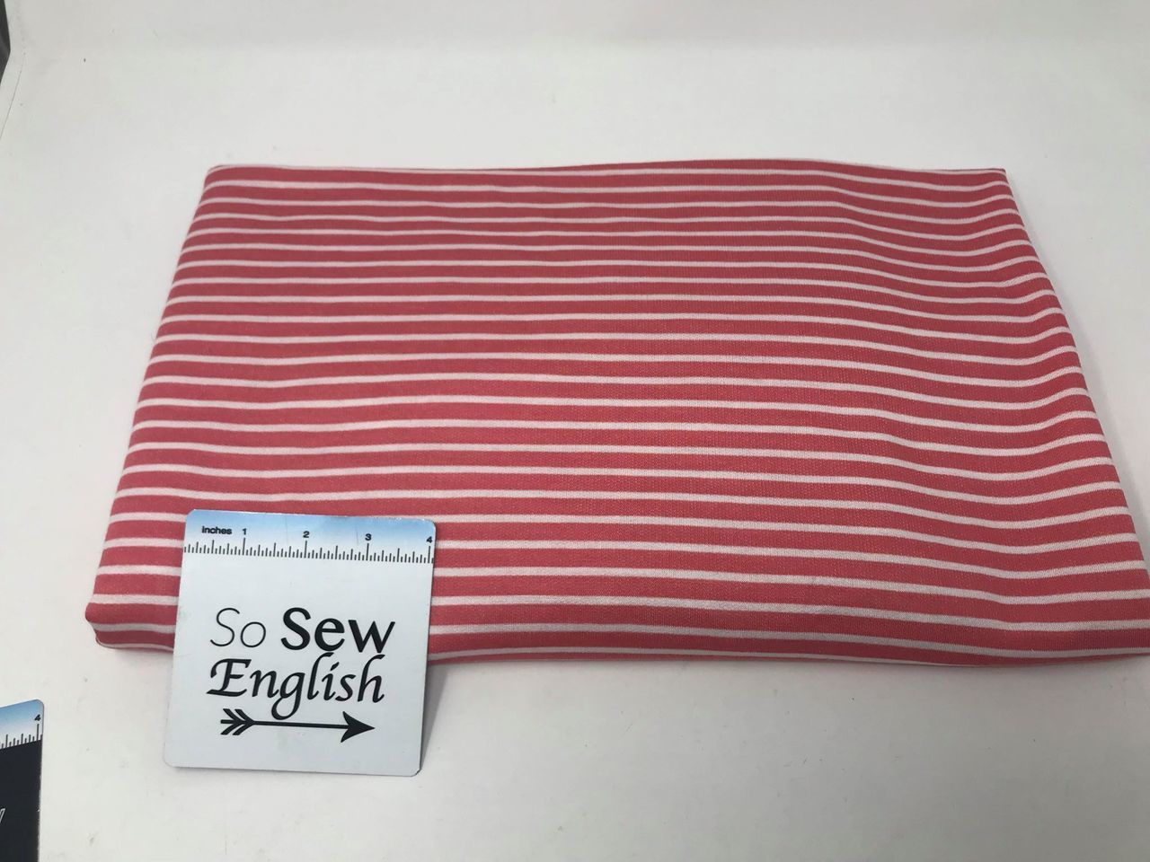 Coral/Ivory EASTON STRIPE - Baby French Terry - By the yard