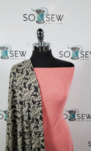 CORAL TEXT BUNDLE : 2YD Coral Textured Jersey & 2YD Charcoal/Ivory Damask FT: E0005