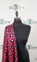 TIME AFTER TIME BUNDLE : 2YD Fuchsia Leopard Scuba & 2YD Black Peached PF : E0082