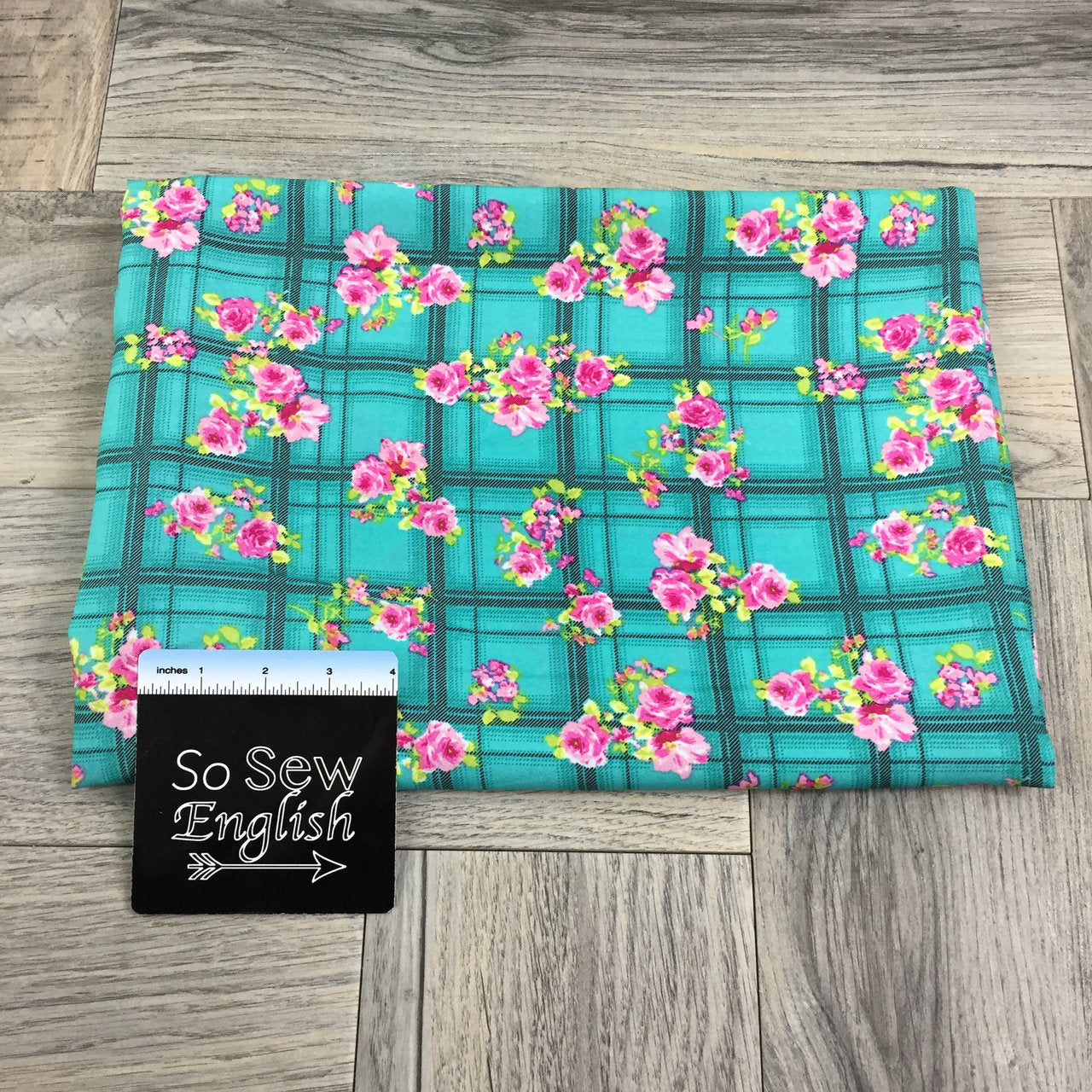 Turquoise Floral Plaid- CDC Crepe de Chine WOVEN - By the yard