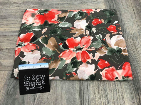 Peach Floral -Rayon Crepe Woven- By the yard