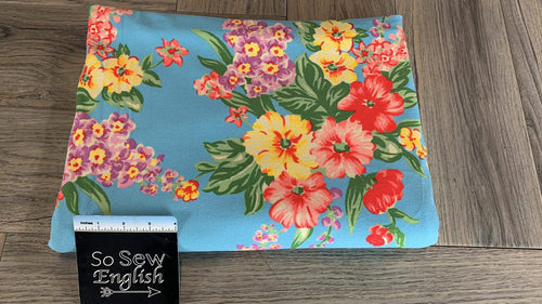 Bright Blue Floral - Loop Terry - By the Yard