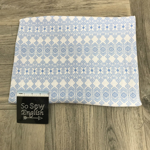 Ivory/Chambray Diamond Boho - Crepe WOVEN -- By the yard