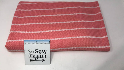 Coral Stripe THERMAL  - THERMAL Knit - By the yard
