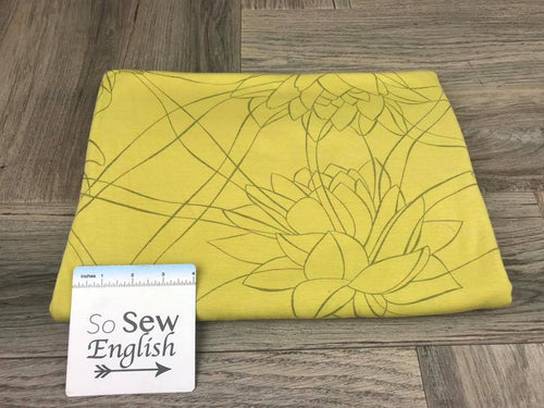 Yellow SERENITY LOTUS -Poly Rayon Jersey -By the yard