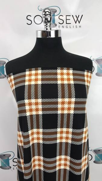 Black/Gold DEVON PLAID -PONTE - By The Yard