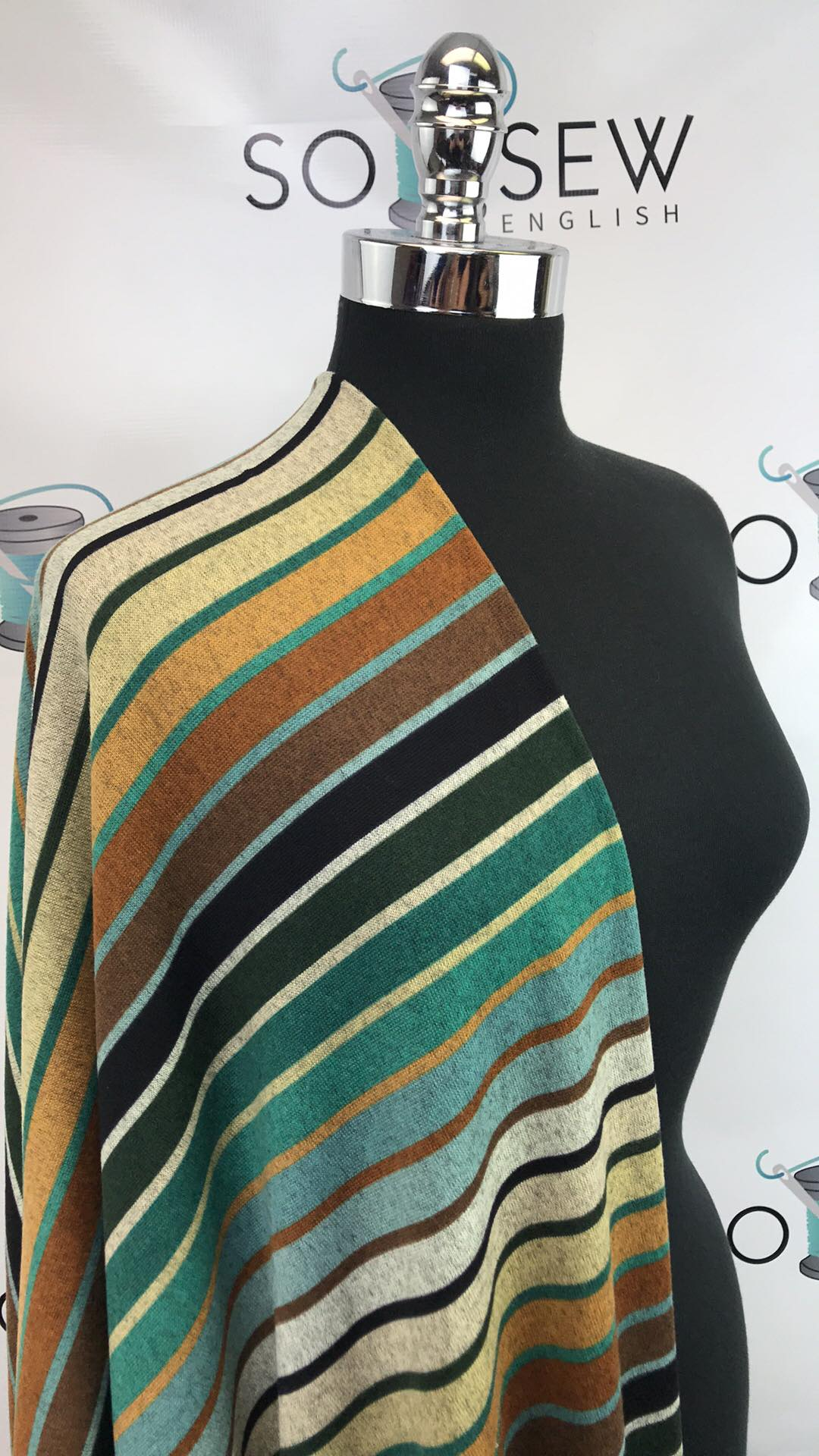 Olive/Sage GRADIENT STRIPE - Brushed Hacci - By The Yard