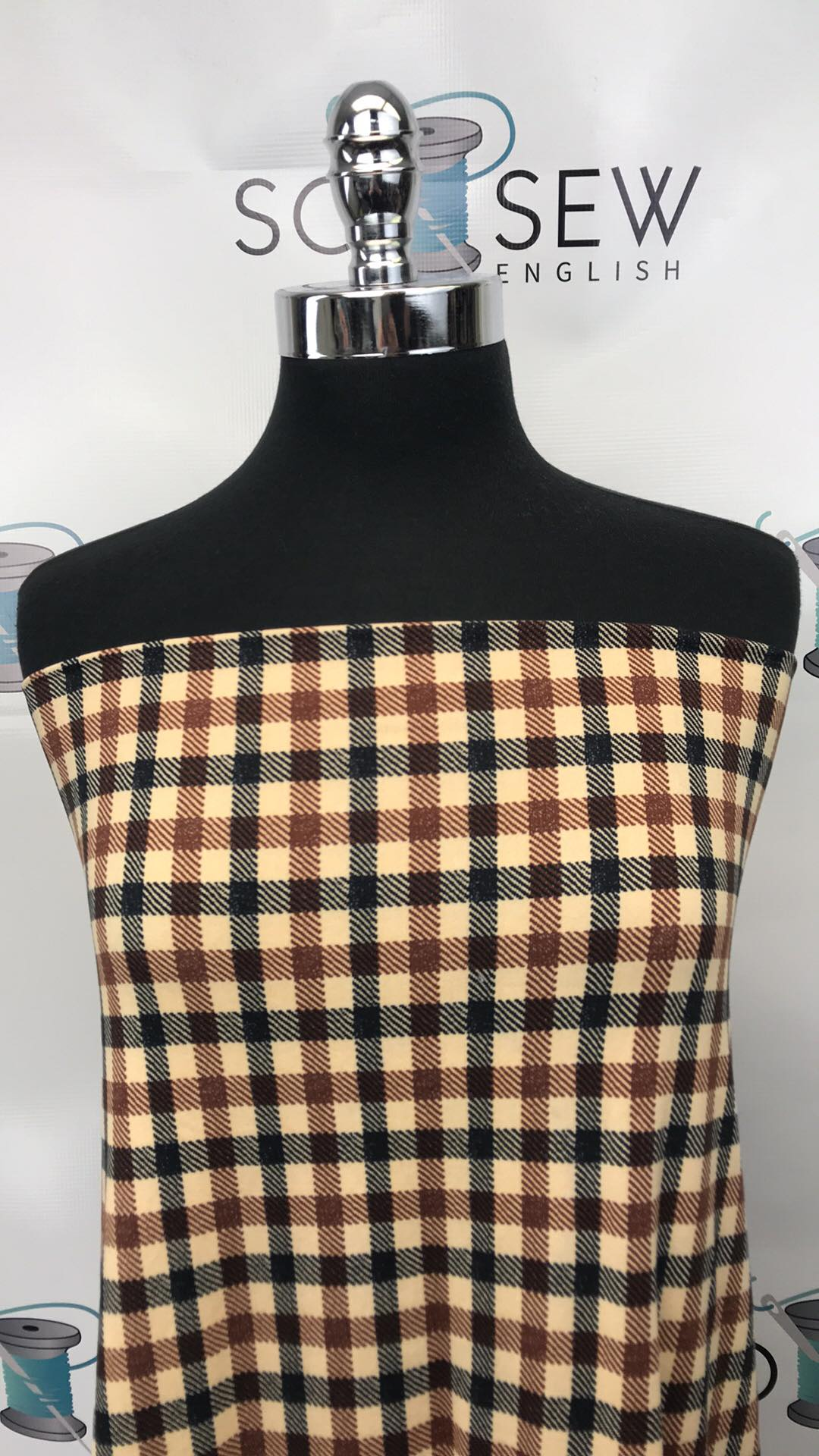 Tan/Beige CHECK PLAID - Double Brushed Poly Spandex -By The Yard