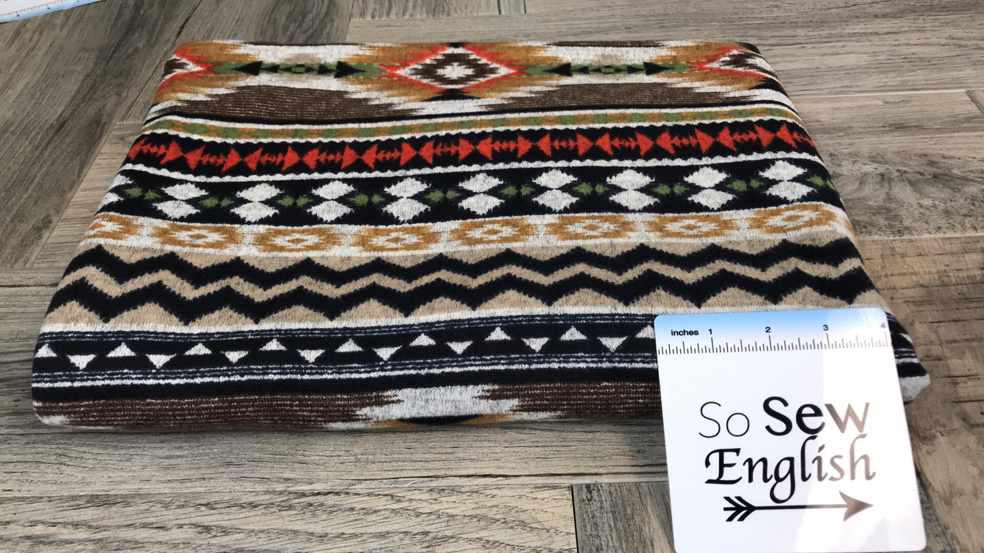 Brown/Coral AZTEC -Melange Hacci - By The Yard