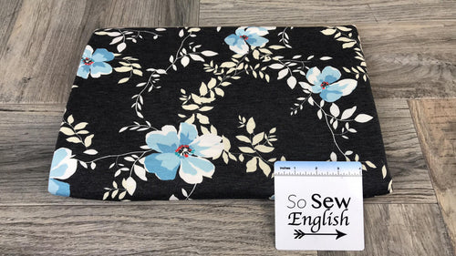 Soft Black PETAL -French Terry- By the yard
