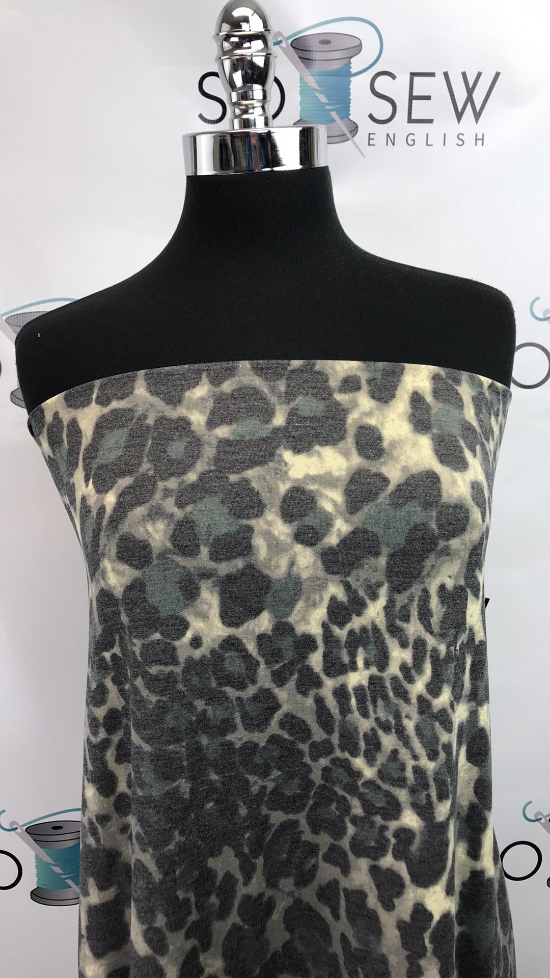 Grey/Black ANIMAL PRINT -French Terry- By the yard