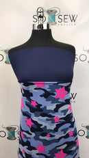 Navy/Fuchsia CAMO STAR - Double Brushed Poly Spandex -By The Yard