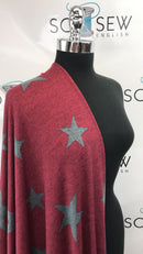 Burgundy/Charcoal STARS - Melange Hacci Sweater Knit - By The Yard