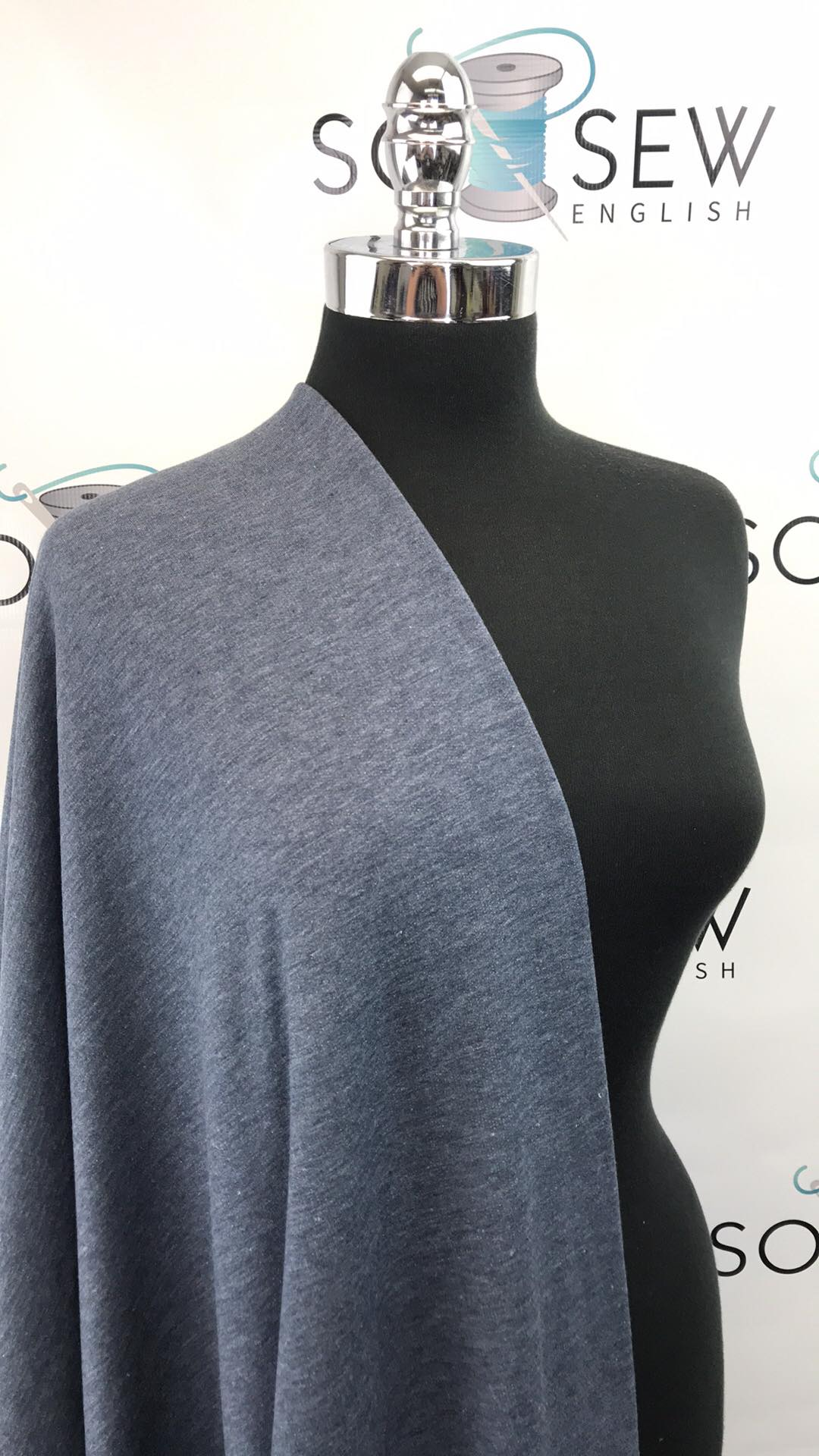 Denim BRUSHED FT - Poly Rayon Spandex French Terry- By the yard