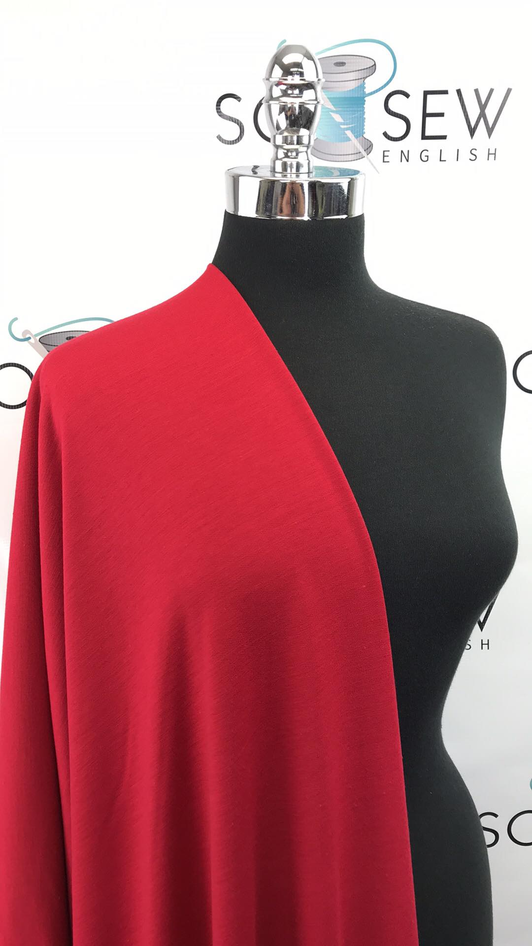 Solid RED  -Poly Rayon Spandex  French Terry - By the yard