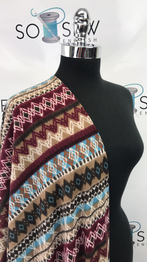 READY CUT: 3YDS ruby/brown/blue aztec sweater knit :RC001004
