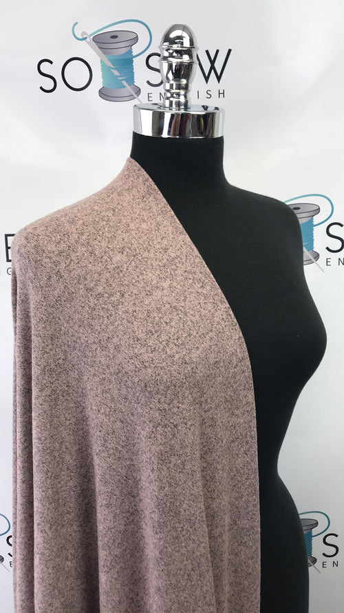 READY CUT: 3YDS taupe peppered brushed sweater knit :RC001003