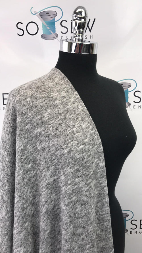 READY CUT: 3YDS grey peppered brushed sweater knit :RC001005