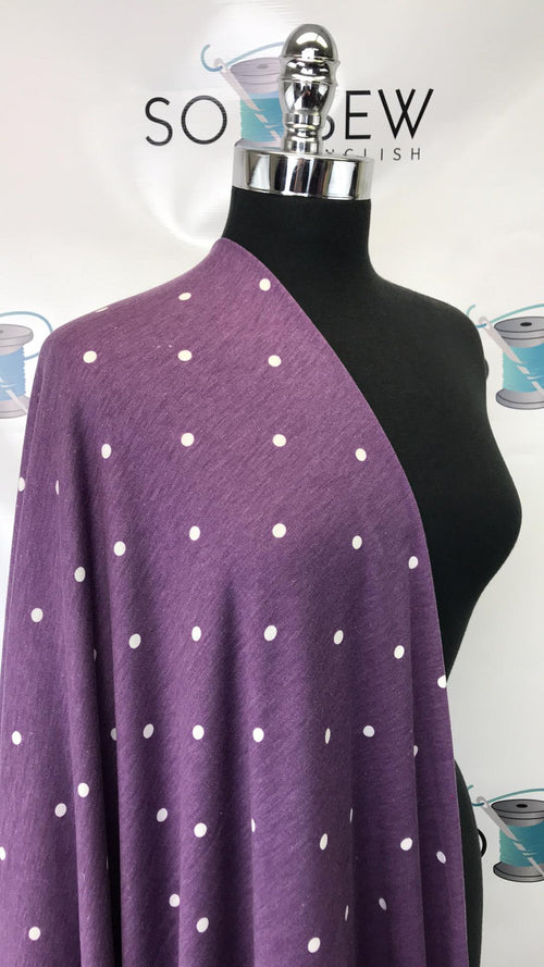 READY CUT: 3YDS purple polka dot French Terry :RC001028