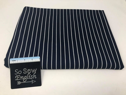 Navy Vertical Stripe- Crepe Scuba -By The Yard