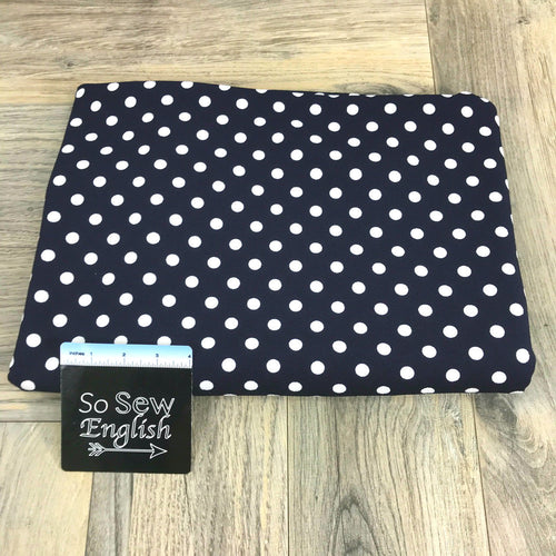 Navy/Ivory POLKA DOT  - LIVERPOOL Knit - By the yard