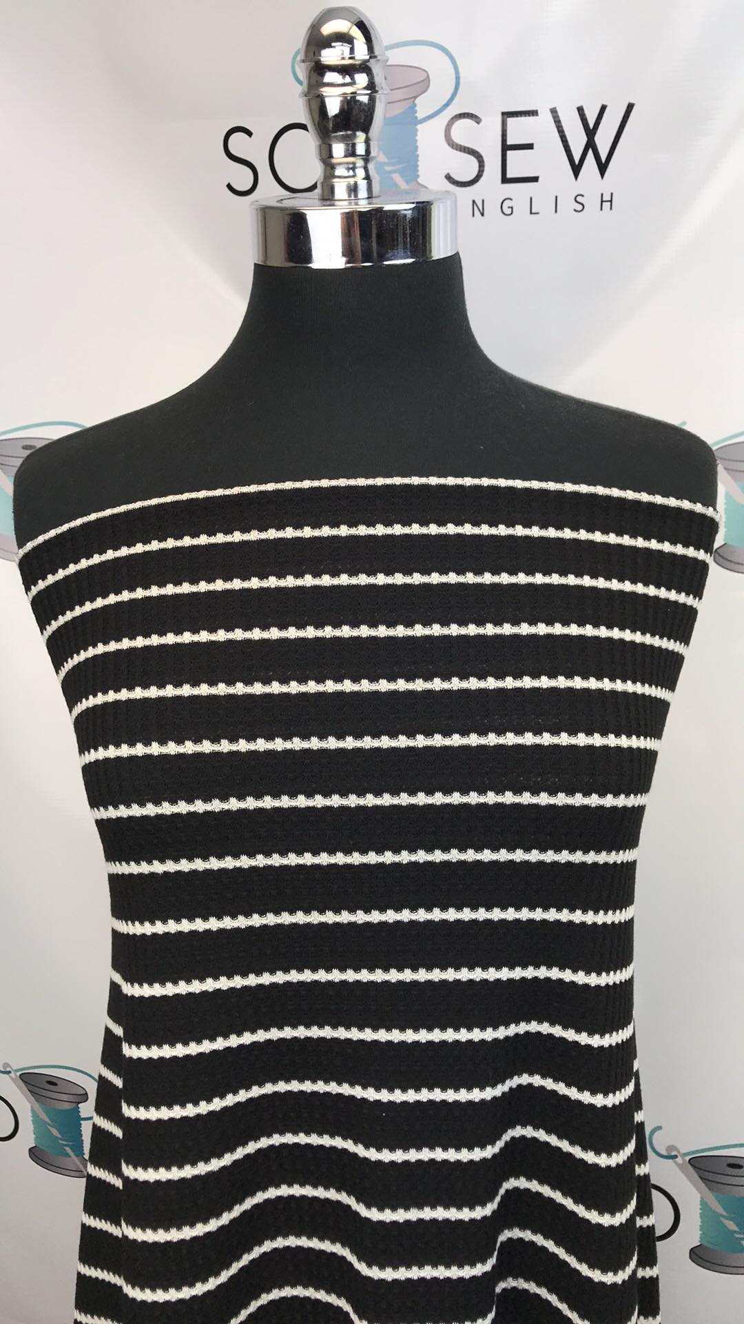Black/Ivory Stripe -Waffle Knit - By the yard