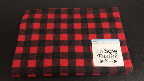 "1"" Red/Black BUFFALO PLAID -French Terry- By the yard"