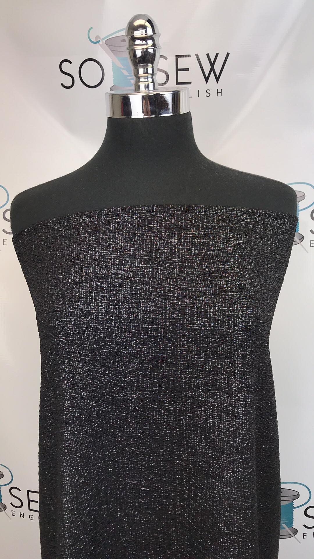 Black/Silver SPARKLE- DOUBLE Knit - By the yard