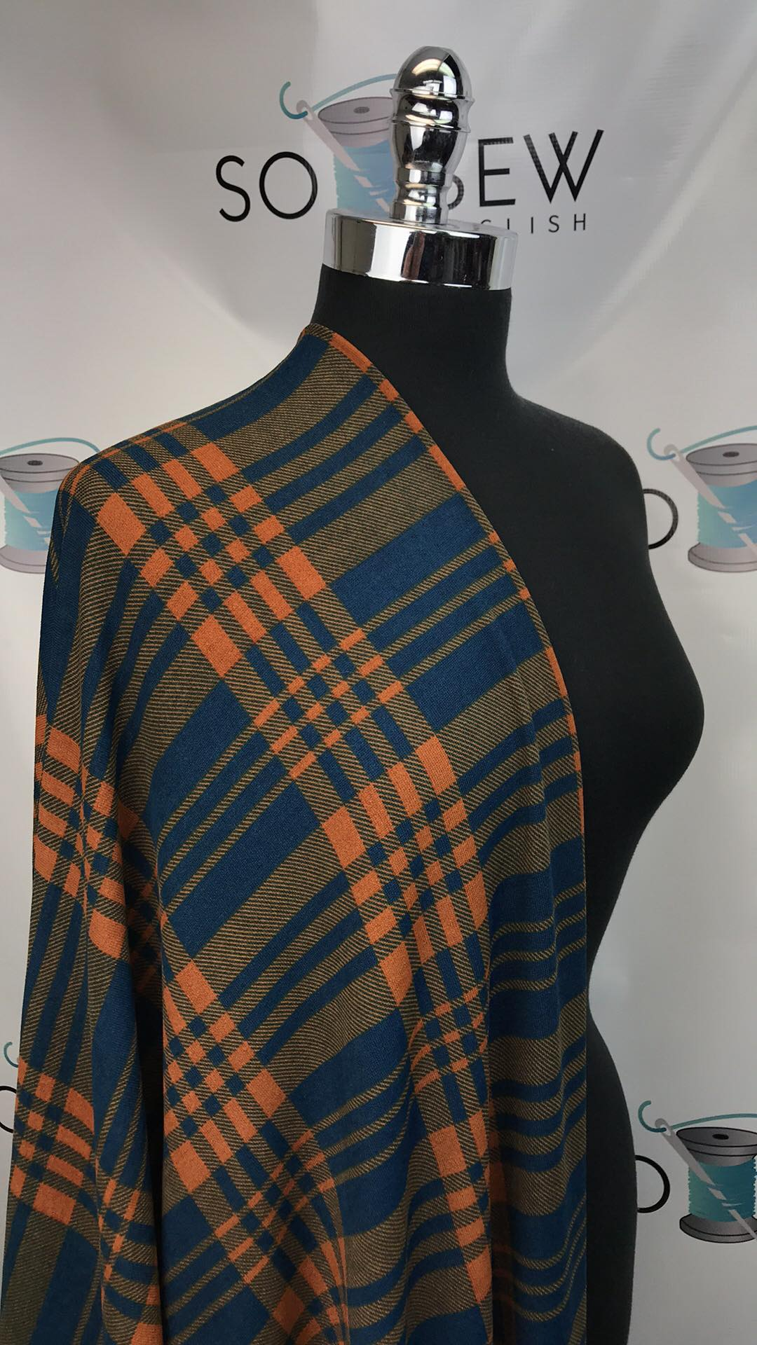 Navy/Orange GLENN PLAID - Hacci - By The Yard