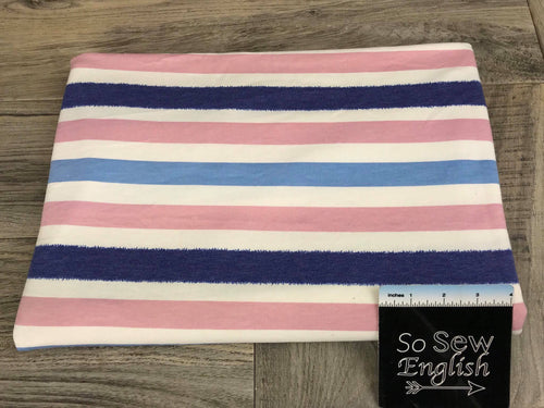 Navy/Mauve Stripe -French Terry- By the yard