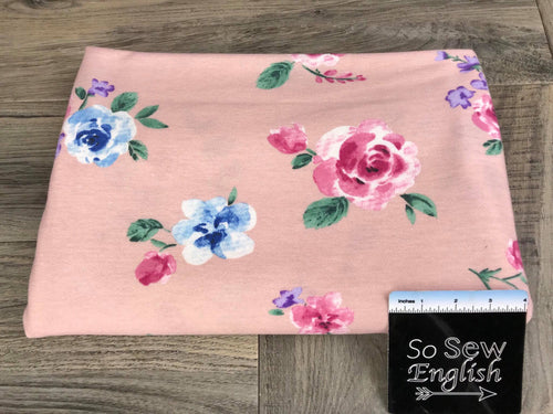 Pink ERIN Floral (right side loops) -French Terry- By the yard