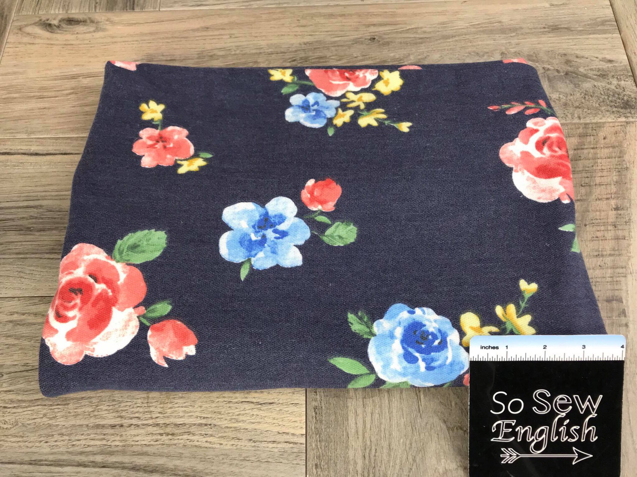 Navy ERIN Floral (right side loops) -French Terry- By the yard