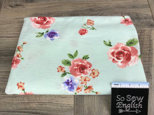 Mint ERIN Floral (right side loops) -French Terry- By the yard
