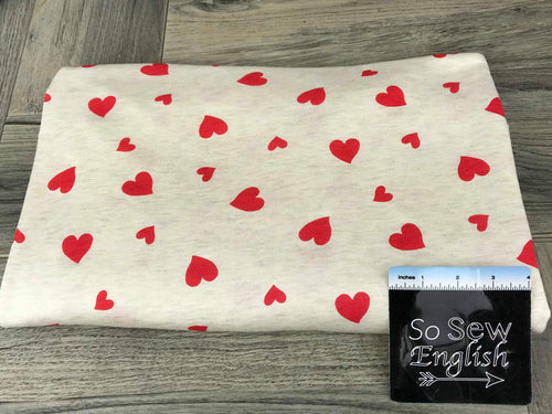 Oatmeal/Red HEARTS -Baby French Terry- By the yard