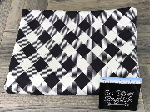 Ivory/Black Sparkle Plaid -Heavy WOVEN - By the yard