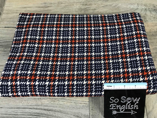 Deep Navy/Rust Small Houndstooth Plaid- LIVERPOOL Knit - By the yard