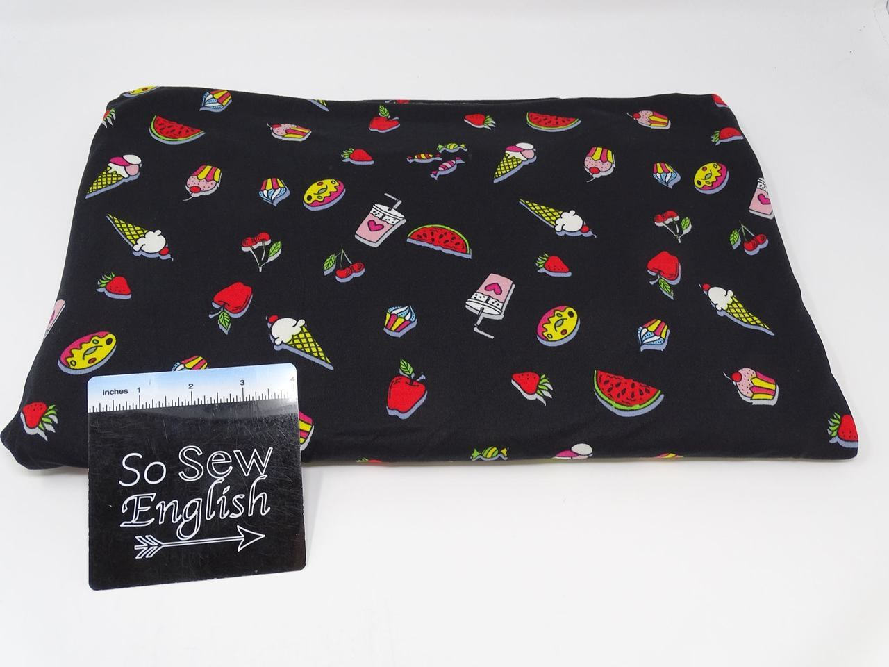 Black SUMMER SNACKS-  Double Brushed Poly Spandex - By The Yard