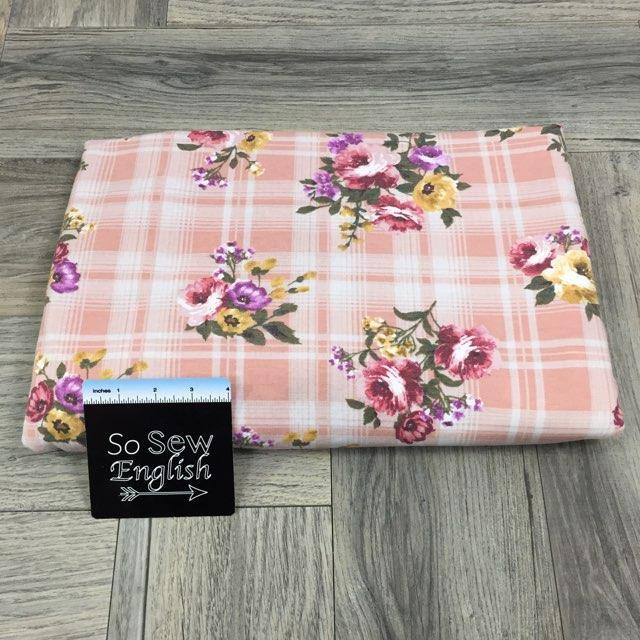 Pink JULIA Floral Plaid - Poly Rayon French Terry - By the yard