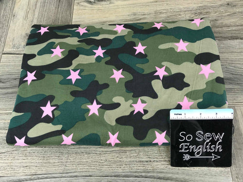Olive/Mauve CAMO STAR - Double Brushed Poly Spandex -By The Yard