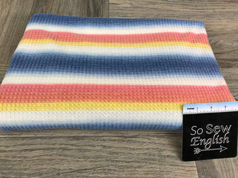 Mint/Coral/Blue Stripe -French Terry- By the yard