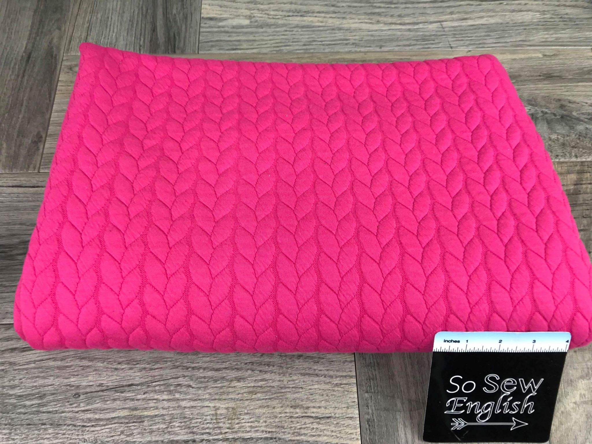 "Solid Fuchsia ""CABLE"" -330 gsm Quilted Knit - By the yard"