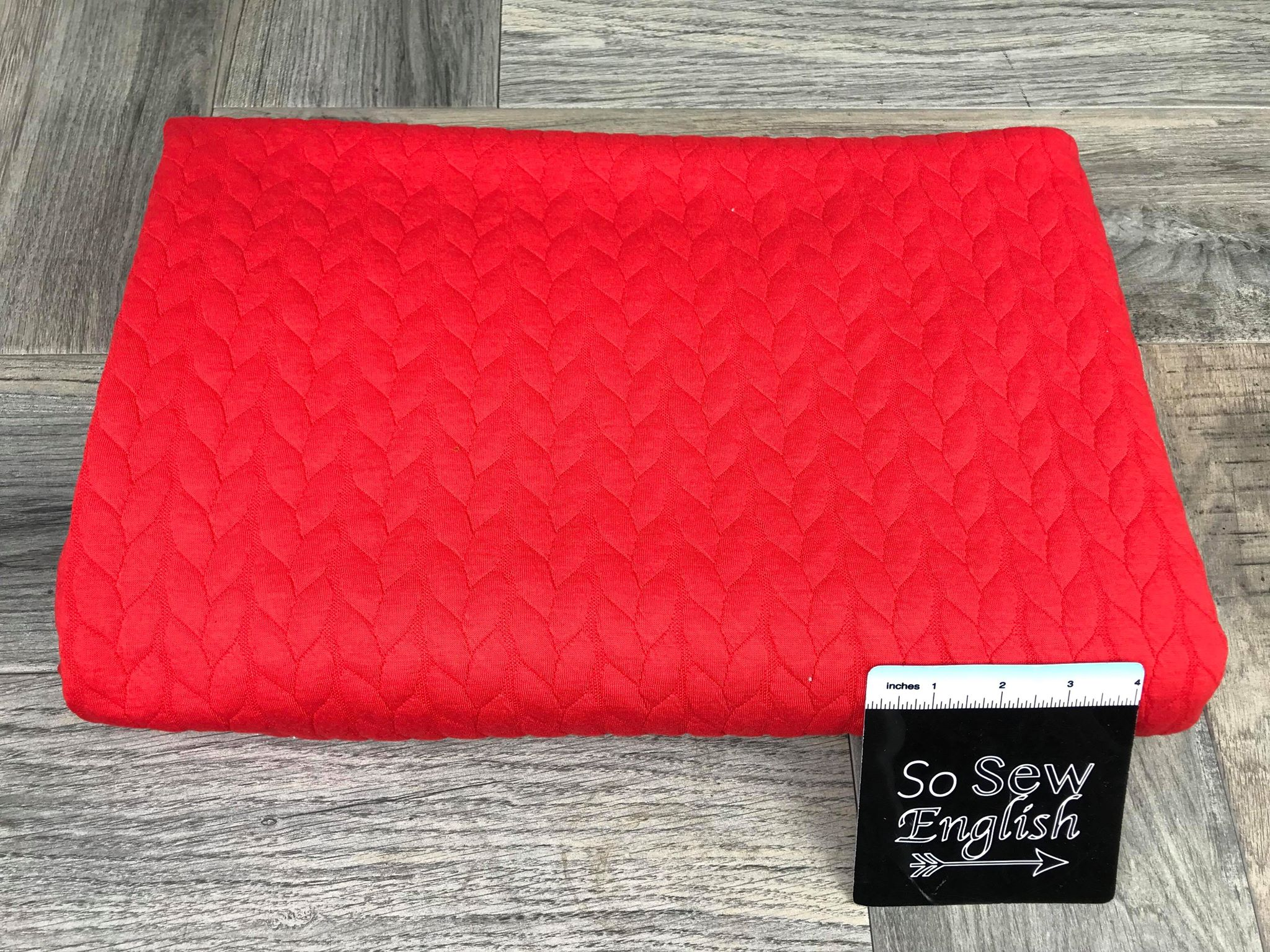 "Solid Bright Red ""CABLE"" -330 gsm Quilted Knit - By the yard"