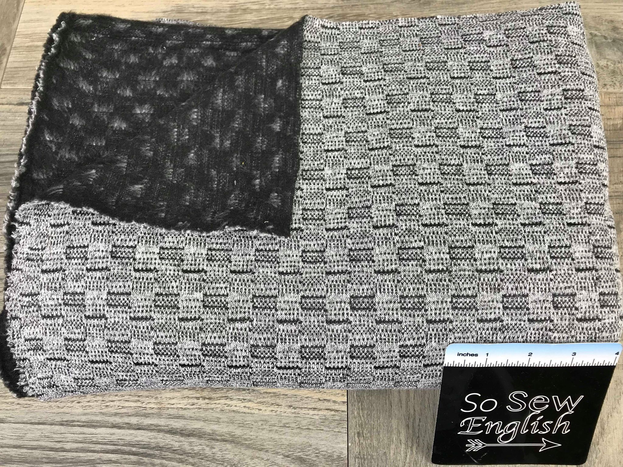"Grey/Black ""WEAVE"" Brushed Back- DOUBLE Knit - By the yard"