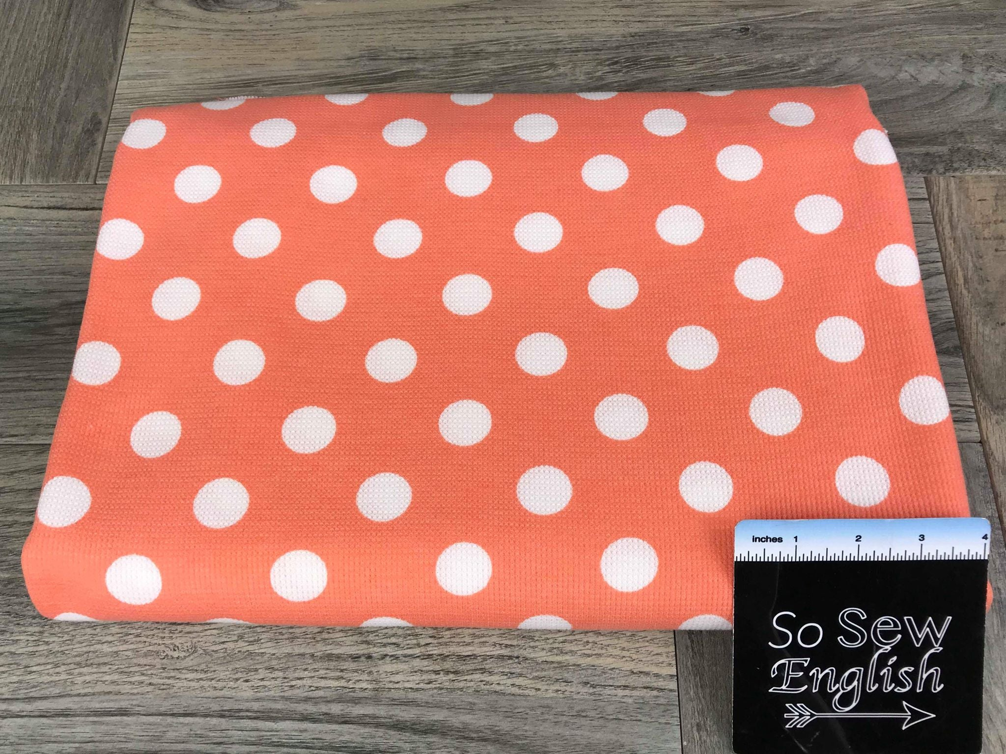 Soft Orange Coral DOT - Micro Thermal Knit - By the yard