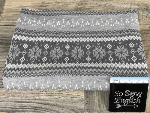 Silver/Grey Snowflake- Brushed DOUBLE Knit - By the yard